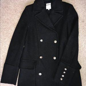 ZARA military black wool coat sz.xs!!FANCY